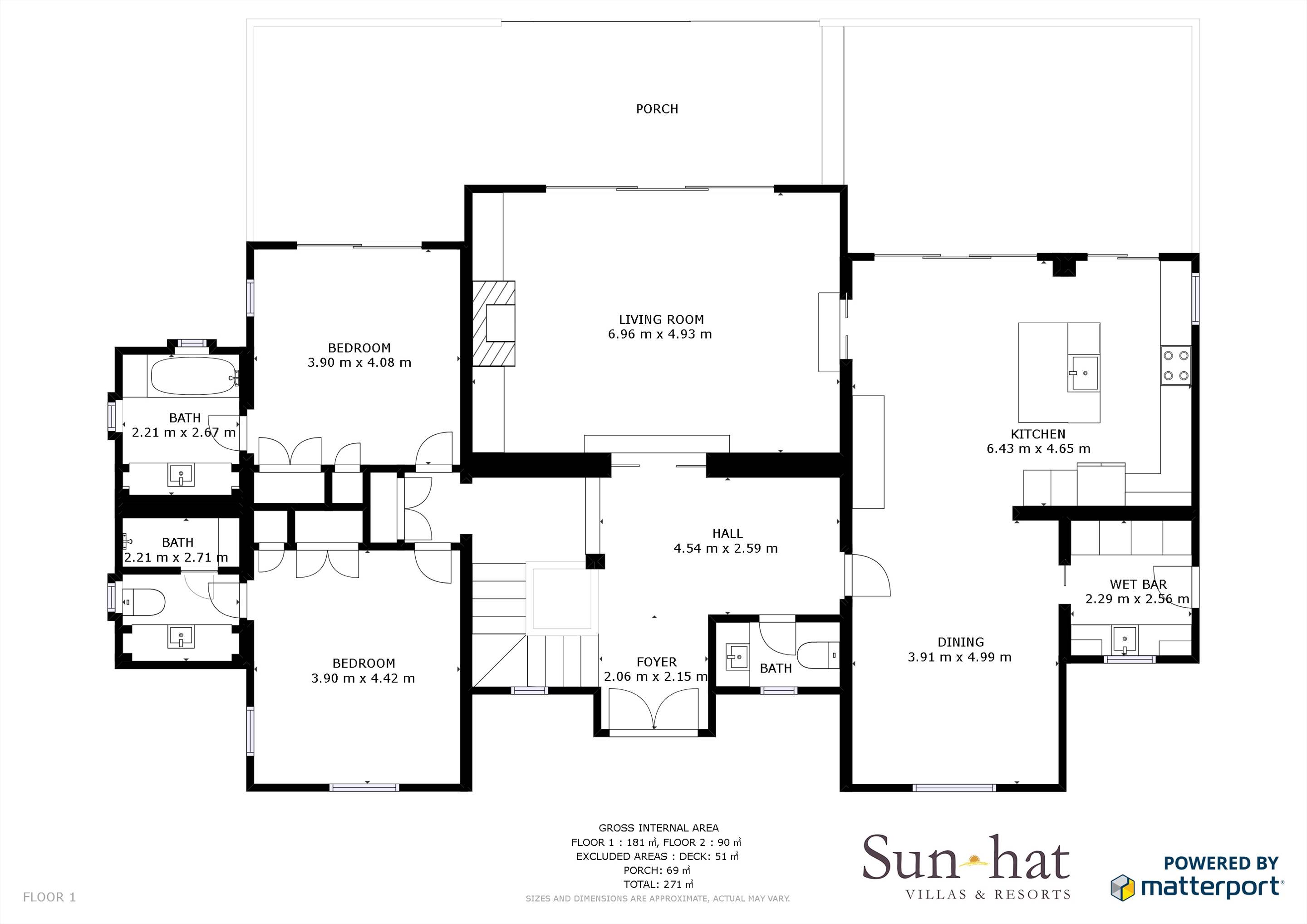 Villa Campainha, 4 Bedroom Rental Floorplan #1