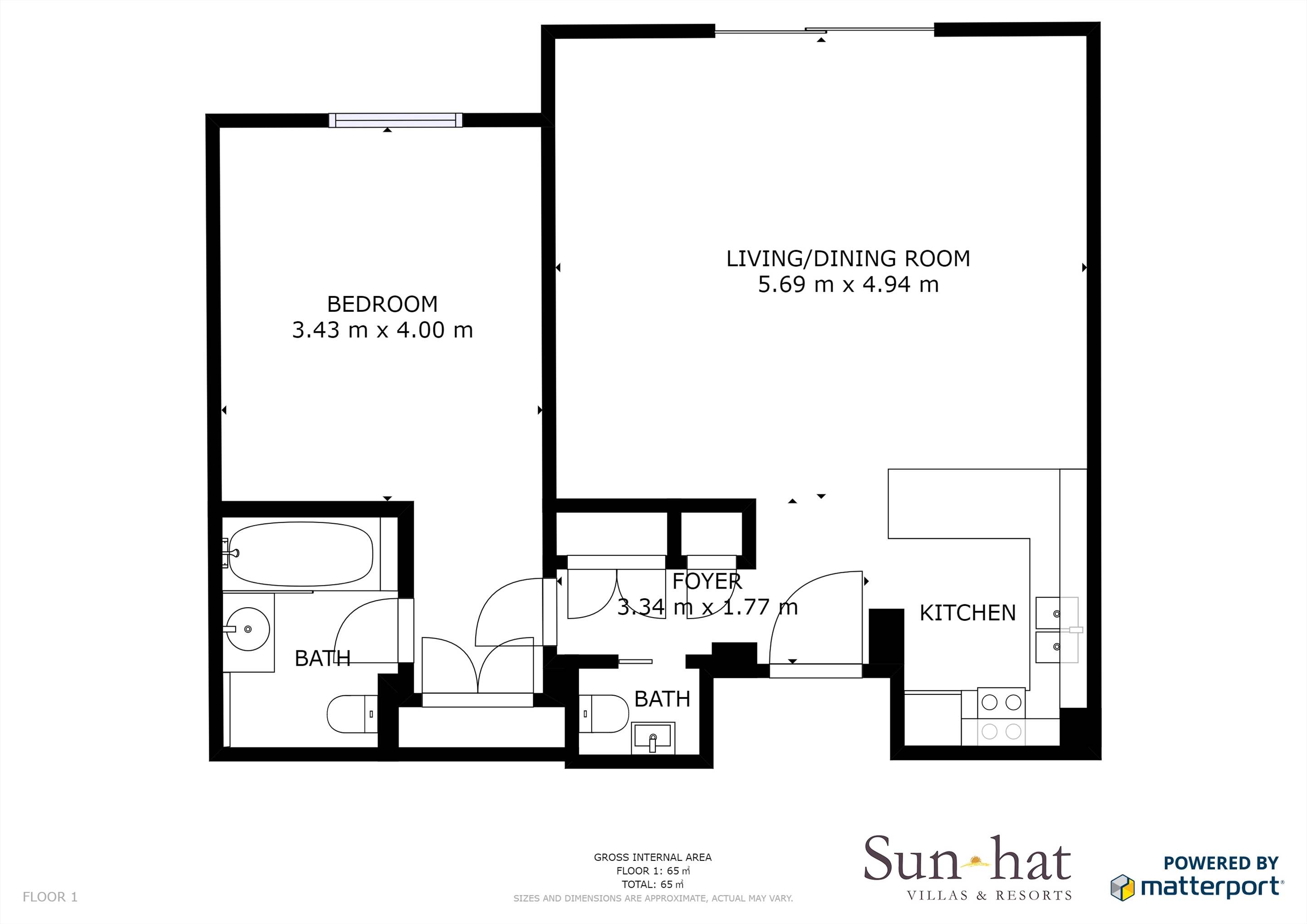 Monte Santo One Bed Suite, Room Only Floorplan #1
