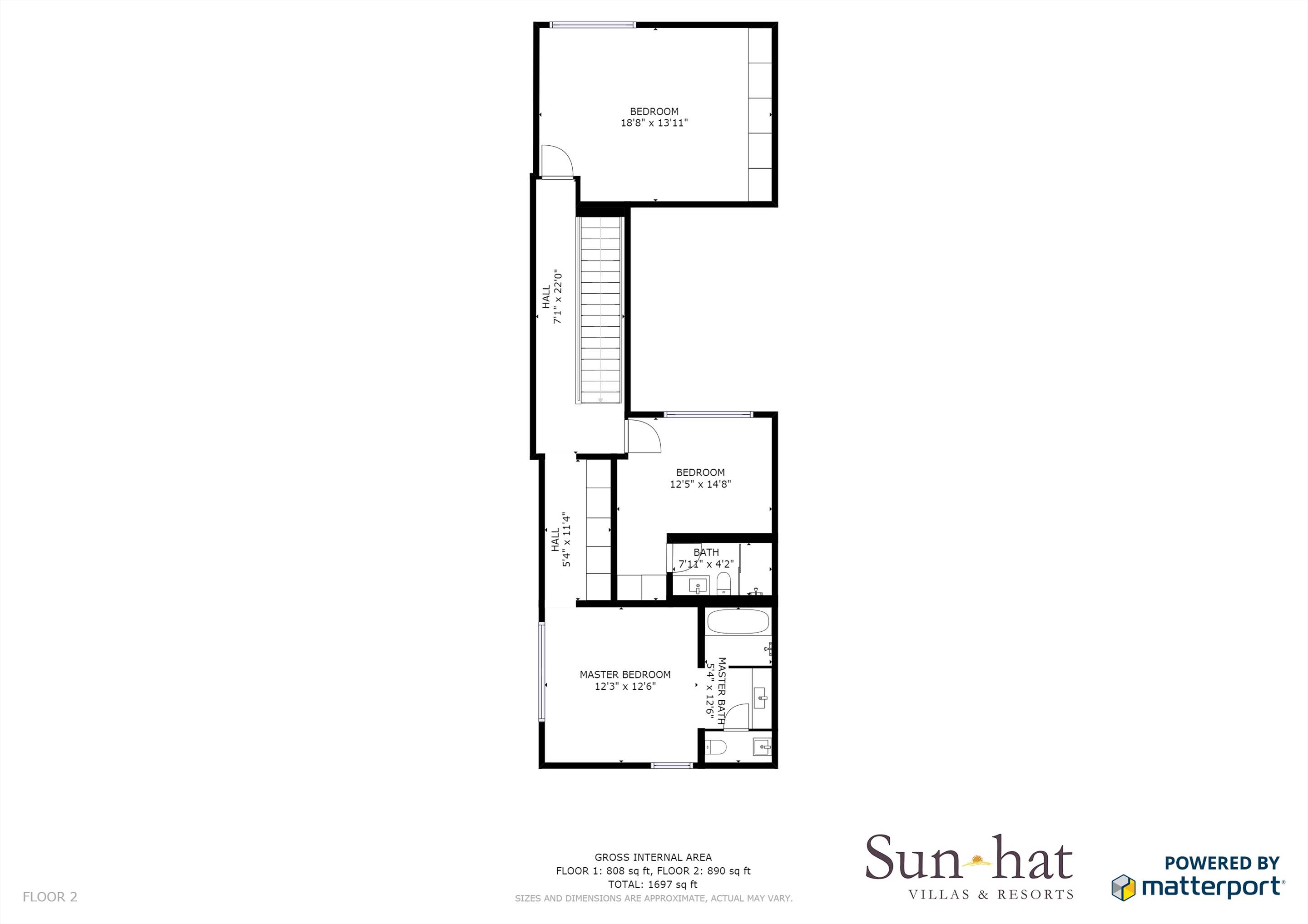 Pine Cliffs Terraces, 2 Bedroom, room only basis  Floorplan #2