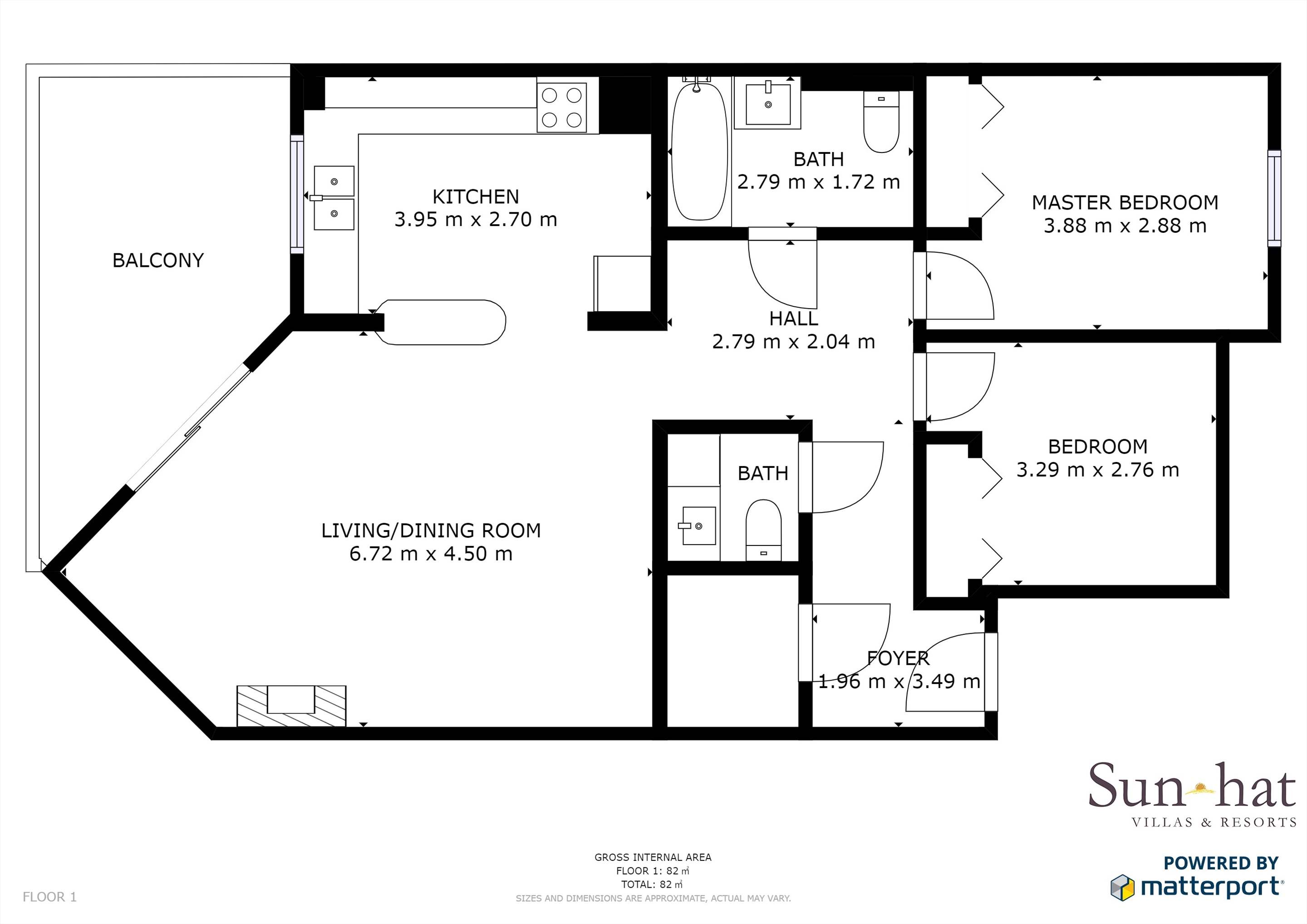 Placid Village, Two Bedroom Apartment  Floorplan #1