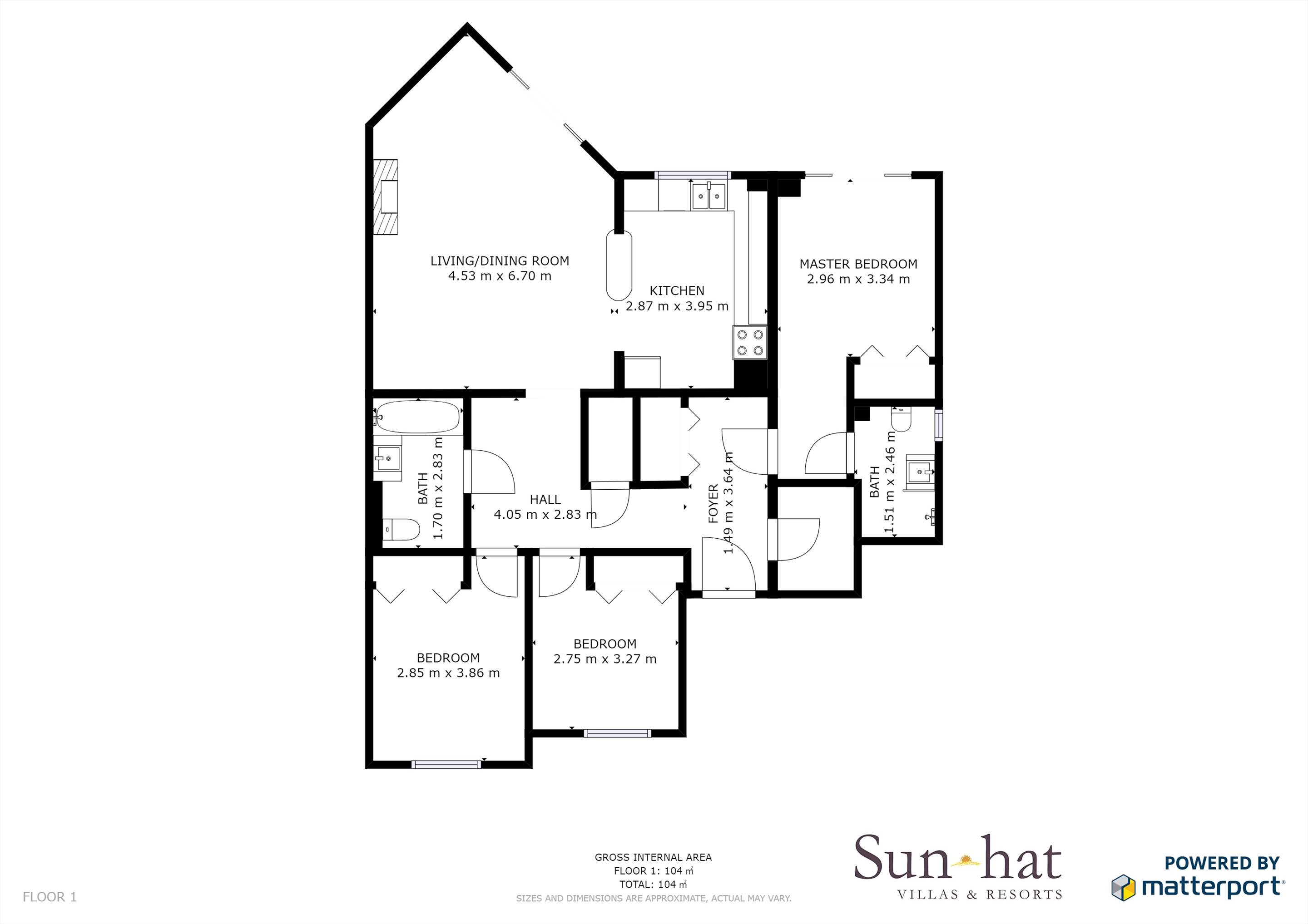 Placid Village, Three Bedroom Apartment Floorplan #2